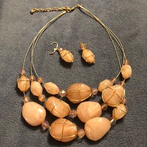 Joan Rivers Wire Wrapped Stone Necklace (YJN20)